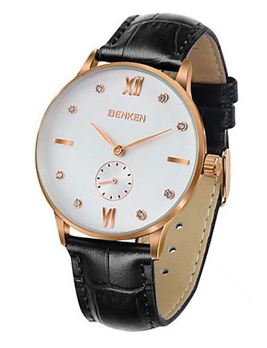 Men's Fashion Watch Quartz Genuine Leather Band Black Brown