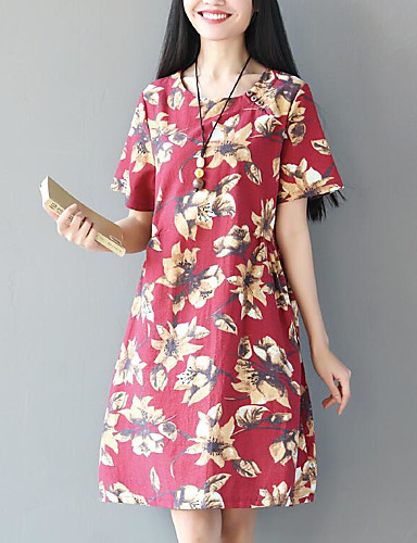 Women's Daily Casual Sheath Dress,Floral Round Neck Above Knee Short Sleeves Cotton Summer Mid Rise Micro-elastic Medium