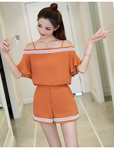 Women's Daily Casual Casual Summer T-shirt Pant Suits,Solid Bateau 1/2 Length Sleeve Fabric Micro-elastic