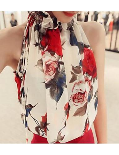 Women's Cute Cotton Blouse - Mixed Color, Print Halter