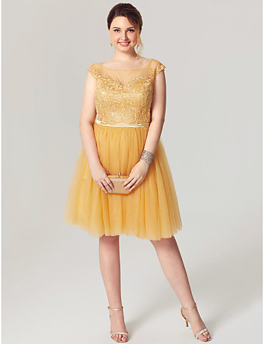 Princess / Fit & Flare Illusion Neck Knee Length Lace / Tulle Cocktail Party / Homecoming / Prom / Holiday Dress with Sash / Ribbon /