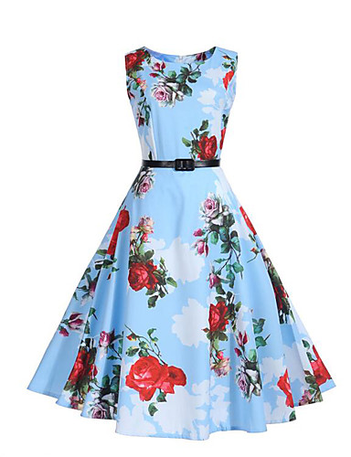Women's Going out Vintage Street chic Sheath Swing Dress - Floral Blue, Pleated High Rise