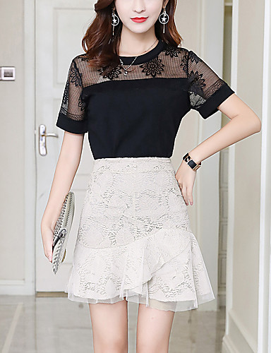 Women's Work Going out Above Knee Skirts Sexy A Line Bodycon Fashion Slim Thin Lace Patchwork Solid Summer Black Beige