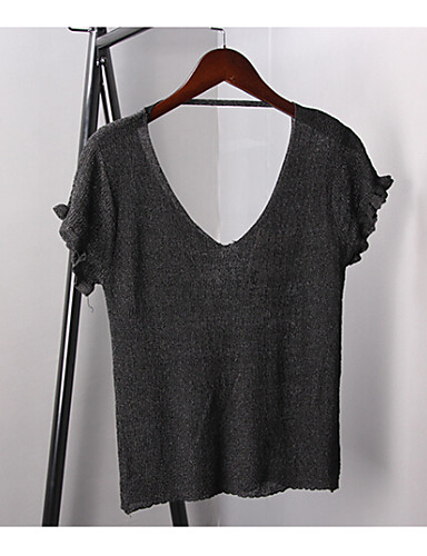 Women's Short Sleeve Wool Cardigan - Solid Colored V Neck / Spring / Summer