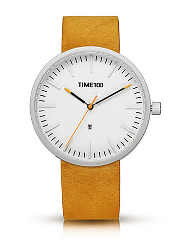 Men's Fashion Watch Quartz Genuine Leather Band Black Yellow