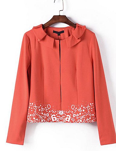 Women's Daily Dots Spring/Fall Jacket,Round Dots Round Neck Long Sleeve Short Cotton