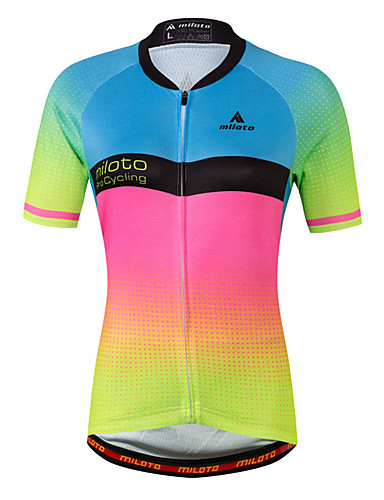 cheap Cycling Clothing-Miloto Women's Short Sleeve Cycling Jersey - Luminous Gradient Plus Size Bike Jersey Top Spandex Coolmax® / Stretchy