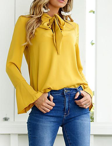 Bomull Polyester Skjorte - Ensfarget Dame