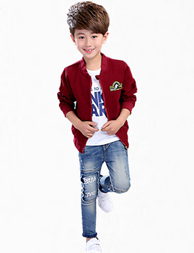 Boys' Embroidered Suit & Blazer,Polyester Fall All Seasons Long Sleeve Floral Navy Blue Wine