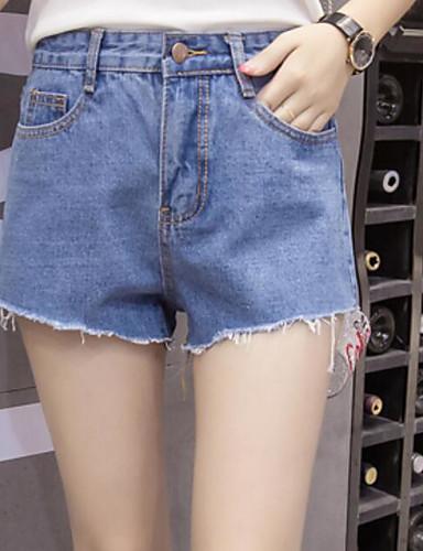 Dame Gatemote Mikroelastisk Jeans Shorts Bukser,Rett Mellomhøyt liv Blomstret