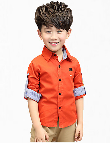 Boys' Embroidered Shirt,Cotton Fall All Seasons Long Sleeve Floral Green Orange Yellow