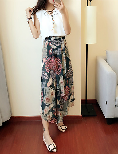 Women's Going out Vintage Summer T-shirt Pant Suits,Solid Round Neck Short Sleeve Cotton
