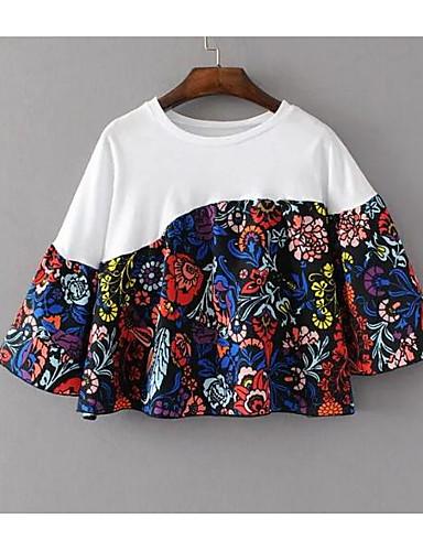 Spandex 3/4 ermer,Rund hals T-skjorte Broderi Vintage Chinoiserie Fritid/hverdag Dame