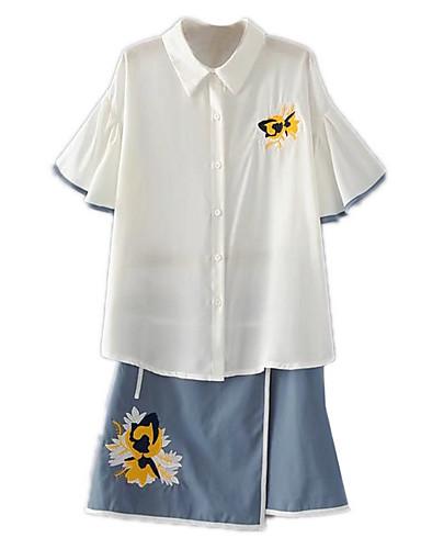 Halvlange ærmer,Skjortekrage قميص Skjørt Drakter Ensfarget Trykt mønster Sommer Moderne / Nutidig Daglig Dame