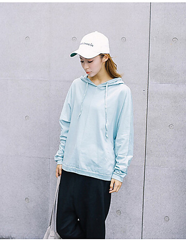 Women's Daily Hoodie Solid Hooded Micro-elastic Polyester Long Sleeve Spring
