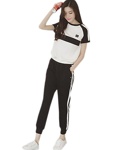 Women's Daily Modern/Comtemporary Summer T-shirt Pant Suits,Solid Color Block Round Neck Short Sleeve