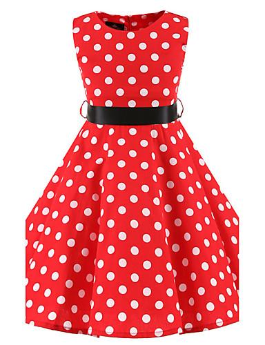Girl's Polka Dot Dress,Cotton All Seasons Sleeveless Dot Red