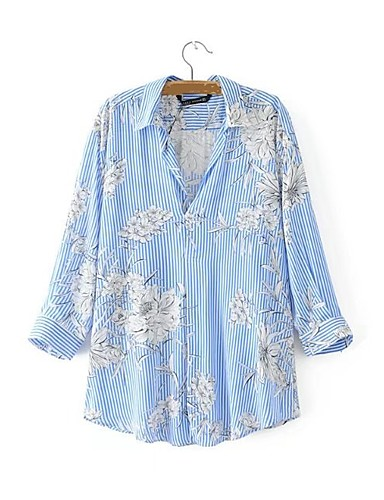 Women's Daily Holiday Going out Casual Sexy Street chic Spring Fall Blouse, Striped Floral Shirt Collar 3/4 Length Sleeves Cotton