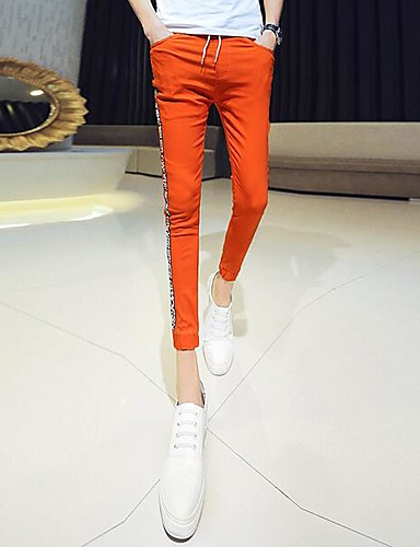 Men's Low Rise Stretchy Chinos Pants,Simple Slim Solid