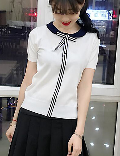 Women's Daily Casual Solid Striped Round Neck Pullover, Short Sleeves Summer