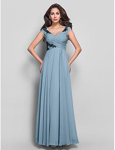 povoljno Haljine za svatove-Kroj uz tijelo V izrez Do poda Šifon Haljina s Aplikacije / Križano po TS Couture®