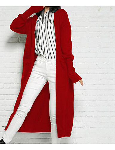 Women's Going out Sexy Long Cardigan,Solid V Neck Long Sleeves Wool Spring Medium Micro-elastic