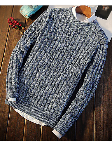 Men's Daily Regular Pullover,Solid Round Neck Long Sleeves Cotton Winter Thick Micro-elastic