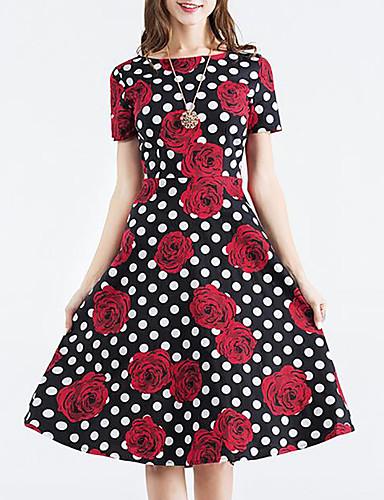 Mulheres Para Noite Vintage balanço Altura dos Joelhos Vestido Poá Floral Decote Redondo Manga Curta Verão