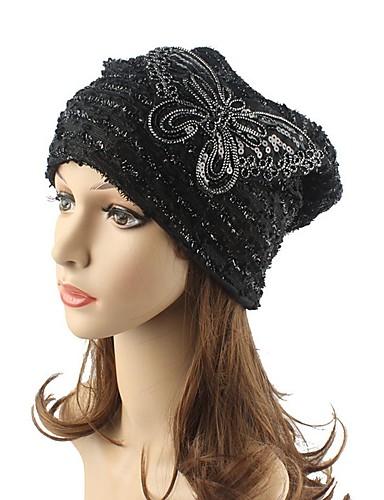 c77e21bce67051 Women's Headwear Chic & Modern Knitwear Cotton Beanie / Slouchy Floppy Hat-Striped  Sequins Fall Winter White Black Khaki / Cute