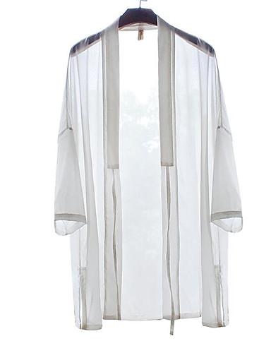 Silke Bomull Lin 3/4 ermer,Dyp V T-skjorte Ensfarget Chinoiserie Fritid/hverdag Herre