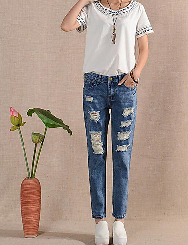 Women's Casual Slim / Jeans Pants - Solid Colored / Summer