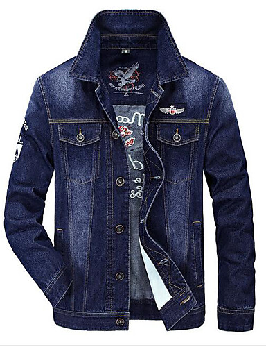 Men's Daily Simple Casual Spring Fall Denim Jacket,Solid Peaked Lapel Long Sleeve Short Cotton Others