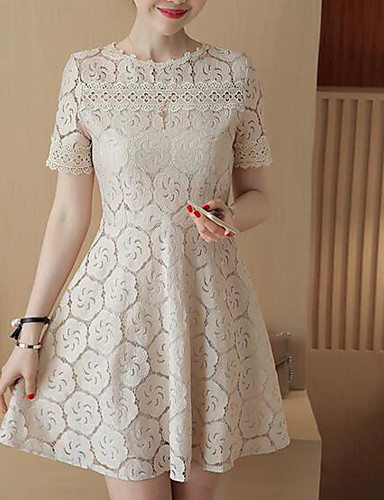 Women's Lace Dress - Solid High Rise