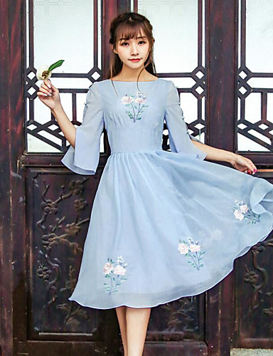 Women's Casual/Daily Skater Midi Dress,Embroidered Boat Neck 3/4 Length Sleeves Summer