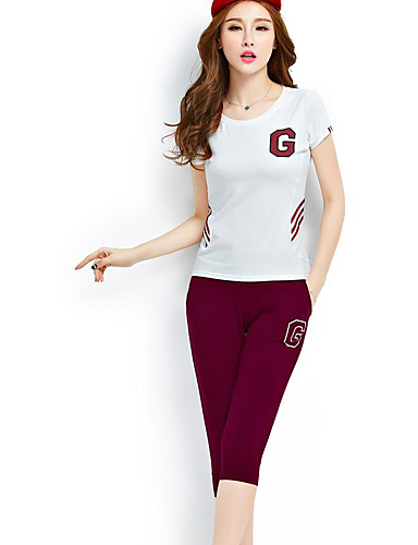 Women's Sports Casual Summer Hoodie Pant Suits,Letter Round Neck Short Sleeve Cotton Micro-elastic