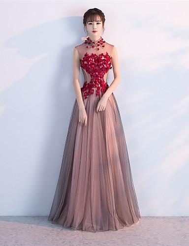 A-line korkea kaulan lattian pituus tulle virallinen ilta hääpuku mekko helmikoristelu
