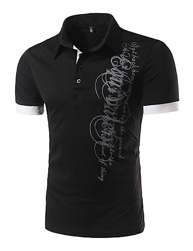 Homens Polo Letra Colarinho de Camisa