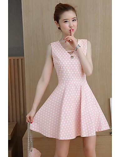Women's Daily Casual Swing Dress,Polka Dot V Neck Above Knee Sleeveless Cotton Summer Mid Rise Micro-elastic Medium