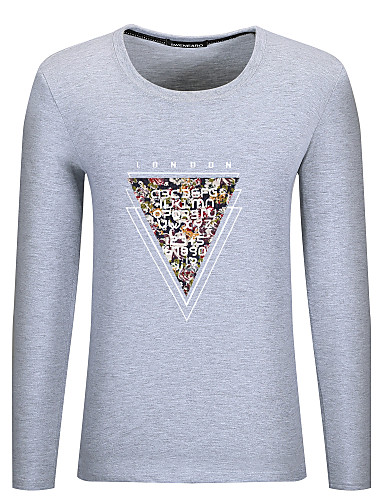 Men's Daily Plus Size Casual Fall All Seasons T-shirt,Letter Round Neck Long Sleeves Cotton