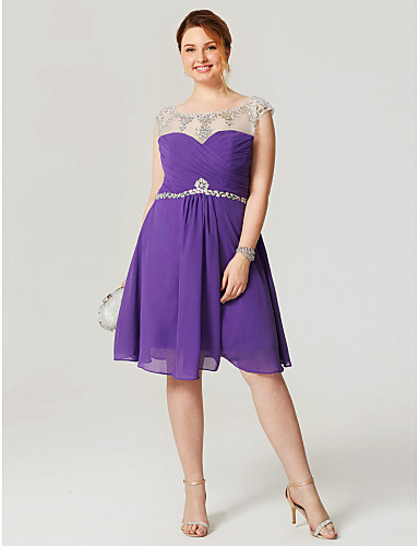 A-Line Fit & Flare Illusion Neckline Knee Length Chiffon Cocktail Party Homecoming Dress with Crystal Detailing Pleats by Sarahbridal