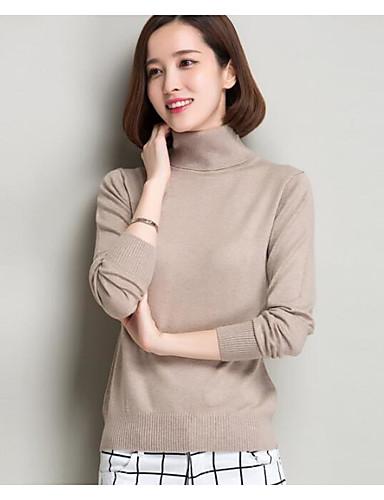 Normal Pullover Fritid/hverdag Dame,Ensfarget Trykt mønster Rullekrage Langermet Ull Annet Høst Vinter Medium Mikroelastisk
