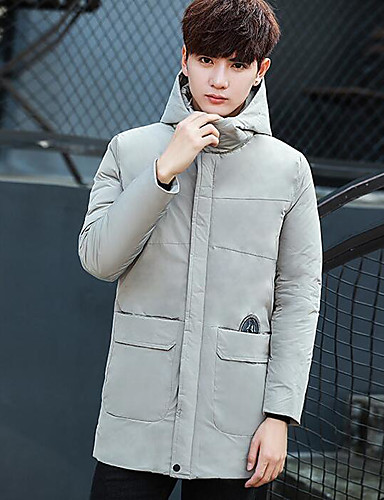 Men's Long Padded Coat,Simple Active Daily Casual Solid-Cotton Polyester Cotton Long Sleeves