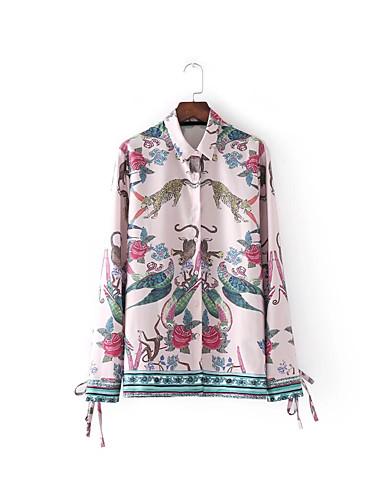 Akryl Tynn Medium Langermet,Skjortekrage Skjorte Trykt mønster Vår Høst Enkel Sexy Gatemote Ferie Ut på byen Fritid/hverdag Dame