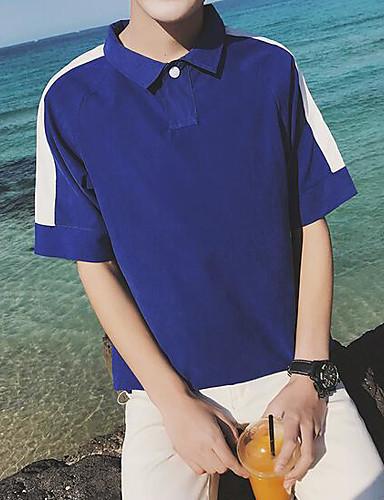 Bomull Kortermet,Skjortekrage T-skjorte Trykt mønster Enkel Fritid/hverdag Herre