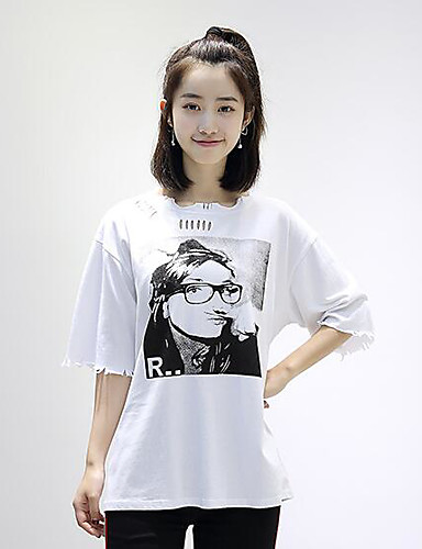 Women's Casual Vintage Summer T-shirt,Print Round Neck Short Sleeves Cotton