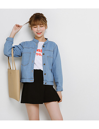 Women's Going out Daily Casual Fall Denim Jacket