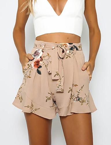 Women's Vintage Loose Slim Chinos Pants - Floral High Rise