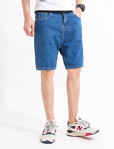 Herre Sexy Mikroelastisk Shorts Bukser,Rett Mellomhøyt liv Ensfarget
