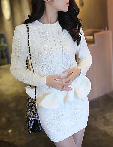 Women's Daily Modern/Contemporary Winter T-shirt Skirt Suits,Solid Round Neck Long Sleeve 100% Cotton