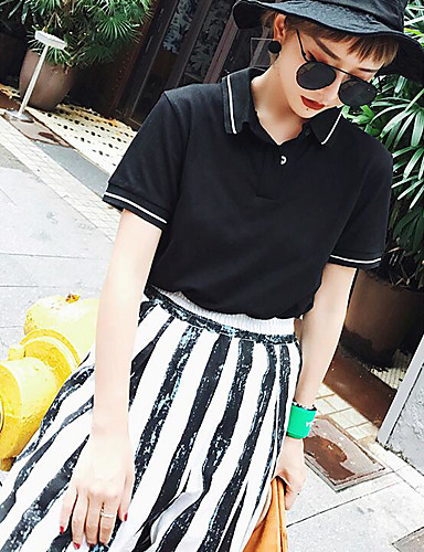 Women's Going out Casual/Daily Street chic Summer T-shirt,Solid Shirt Collar Short Sleeves Cotton Medium